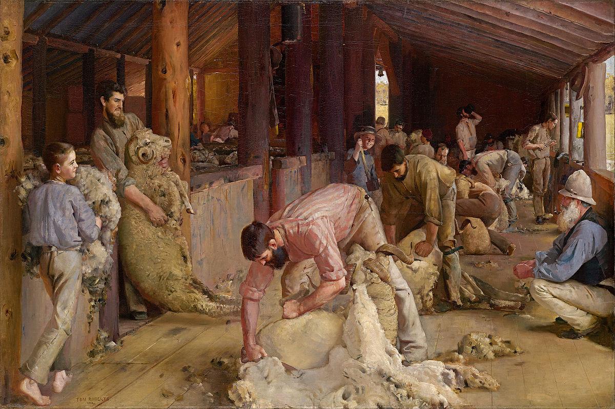 Esquilando las ovejas por Tom Roberts