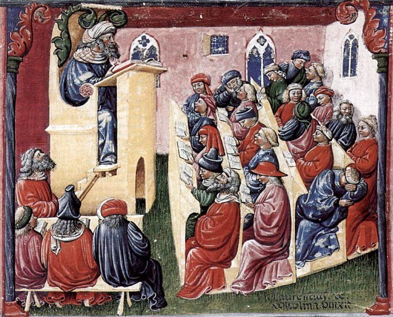 Enrique de Alemania dicta cátedra a universitarios de Bologna por Laurentius de Voltolina