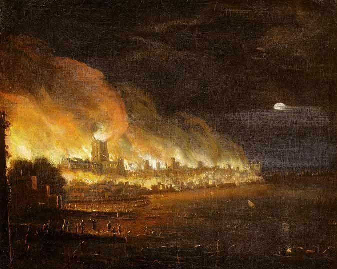 Gran incendio de Londres, autor anónimo, escuela holandesa