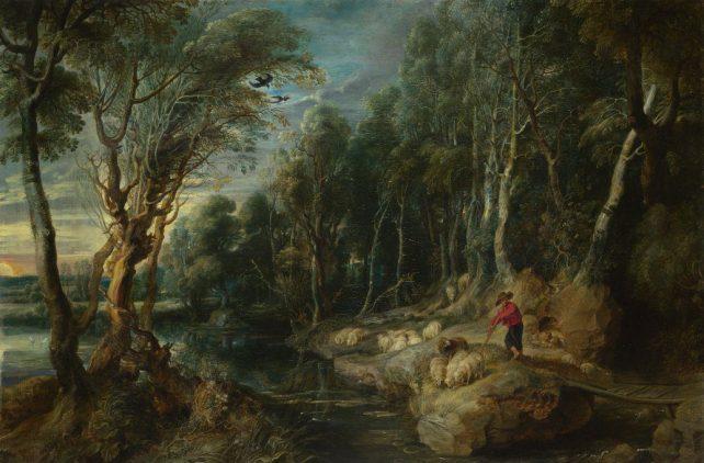 Pastor con su ganado en un paisaje boscoso por Peter Paul Rubens