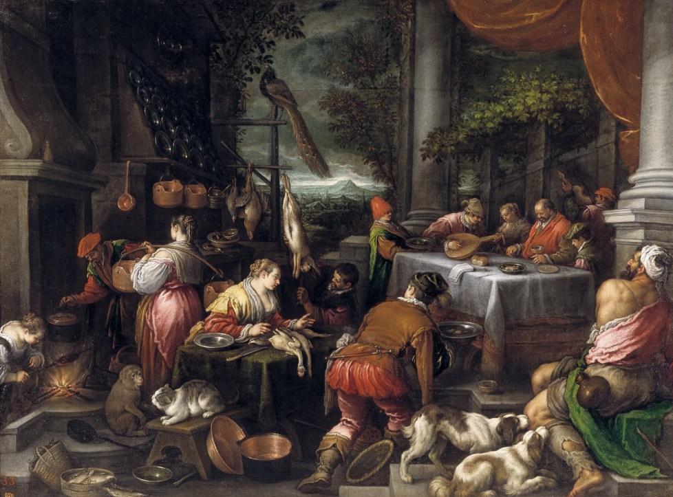 El rico Epulón y el pobre Lázaro por Leandro Bassano